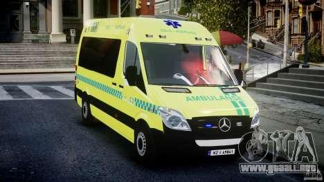 Mercedes-Benz Sprinter PK731 Ambulance [ELS] para GTA 4 vista hacia atrás