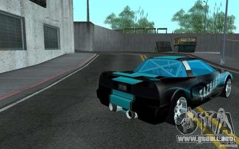 Baby blue Infernus para GTA San Andreas vista posterior izquierda