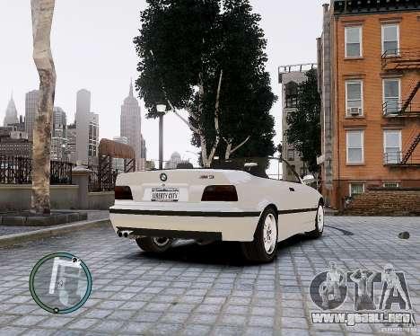 BMW M3 e36 1997 Cabriolet para GTA 4 Vista posterior izquierda