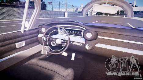 Cadillac Eldorado 1959 interior black para GTA 4 vista desde abajo