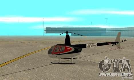 Robinson R44 Raven II NC 1.0 piel 2 para GTA San Andreas vista posterior izquierda