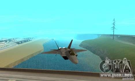F-22 Grey para GTA San Andreas vista hacia atrás
