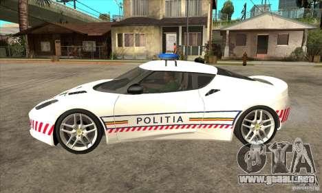 Lotus Evora S Romanian Police Car para GTA San Andreas left