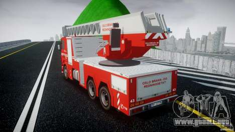 Scania Fire Ladder v1.1 Emerglights blue [ELS] para GTA 4 Vista posterior izquierda