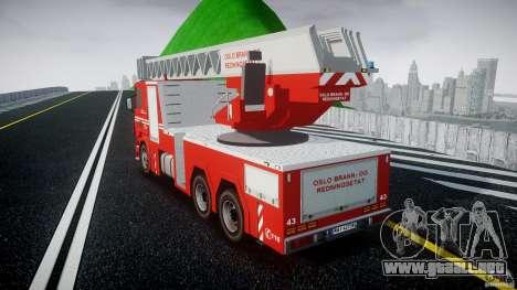 Scania Fire Ladder v1.1 Emerglights blue [ELS] para GTA 4 Vista posterior izquierda