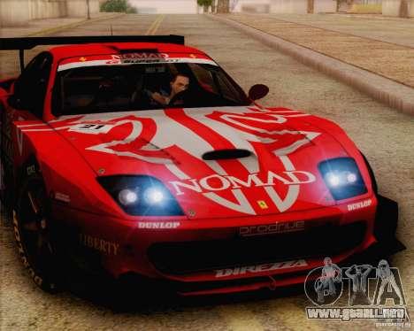 Ferrari 550 Maranello Super GT500 para GTA San Andreas vista posterior izquierda