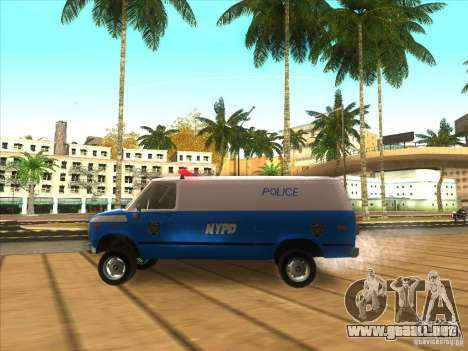 Chevrolet Van G20 BLUE NYPD 1990 para GTA San Andreas left