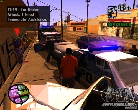Persiguiendo a las máquinas para GTA San Andreas sucesivamente de pantalla