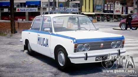 Fiat 125p Polski Milicja para GTA 4 vista hacia atrás