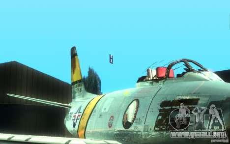F 86 Sabre para GTA San Andreas vista posterior izquierda
