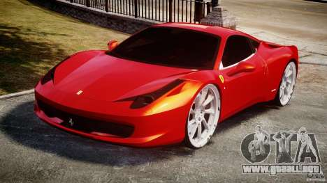 Ferrari 458 Italia Dub Edition para GTA 4 vista hacia atrás
