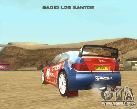 Citroen Xsara WRC para GTA San Andreas vista posterior izquierda