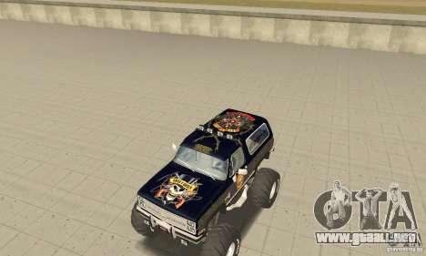 Chevrolet Blazer K5 Monster Skin 2 para GTA San Andreas left