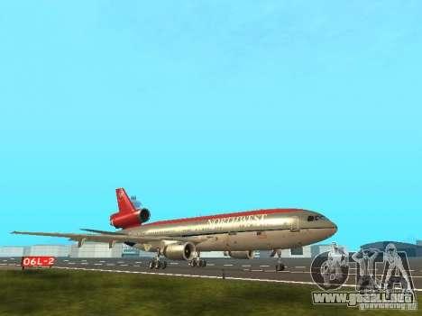 McDonell Douglas DC 10 Nortwest Airlines para GTA San Andreas vista posterior izquierda