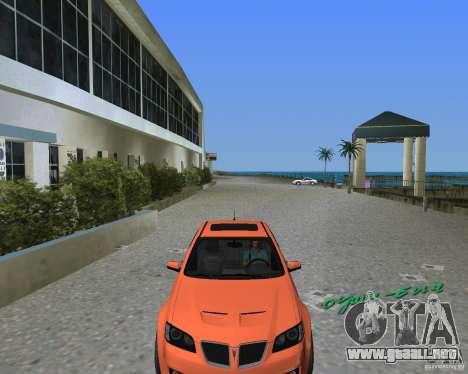Pontiac G8 GXP para GTA Vice City visión correcta