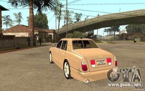 Bentley Arnage para GTA San Andreas vista posterior izquierda