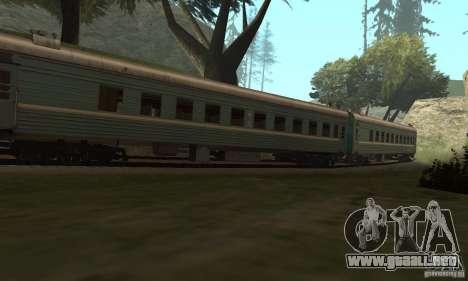 El coche de los ferrocarriles rusos 2 para GTA San Andreas vista hacia atrás