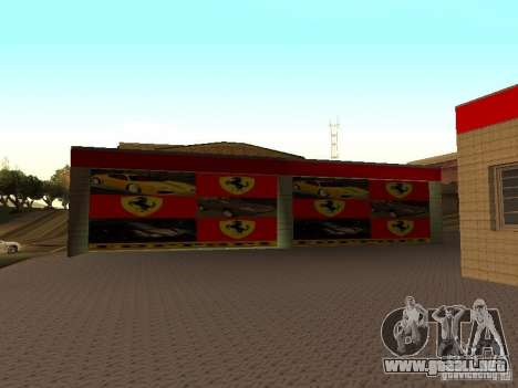 El garaje de Ferrari en Dorothy para GTA San Andreas sucesivamente de pantalla