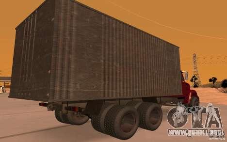 ZIL 6309 para GTA San Andreas vista hacia atrás