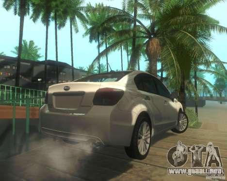 Subaru Impreza Sedan 2012 para la visión correcta GTA San Andreas