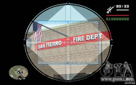 Francotirador mod v. 2 para GTA San Andreas sucesivamente de pantalla