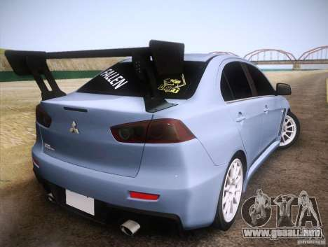 Mitsubishi Lancer Evolution Drift Edition para GTA San Andreas vista posterior izquierda