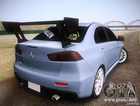 Mitsubishi Lancer Evolution Drift Edition para GTA San Andreas vista posterior izquierda