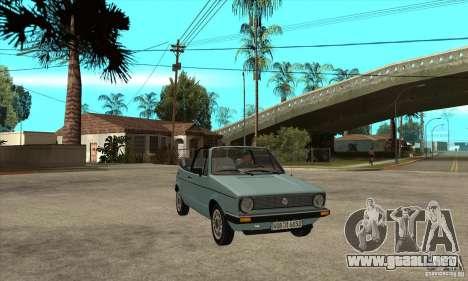 Volkswagen Golf Mk1 Cabrio para GTA San Andreas vista hacia atrás