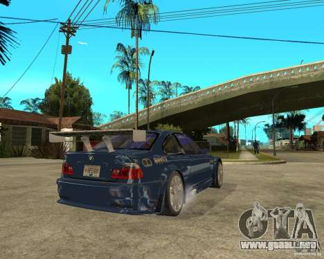 BMW M3 GTR de Need for Speed Most Wanted para GTA San Andreas vista posterior izquierda