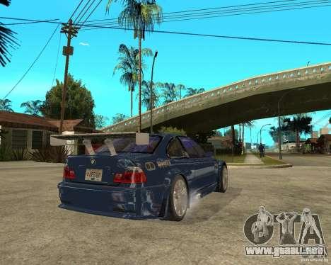 BMW M3 GTR de Need for Speed Most Wanted para GTA San Andreas vista posterior izquierda