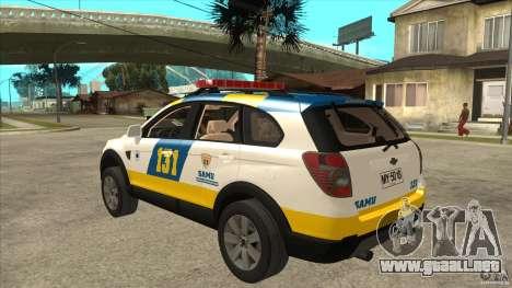 Chevrolet Captiva Police para GTA San Andreas vista posterior izquierda