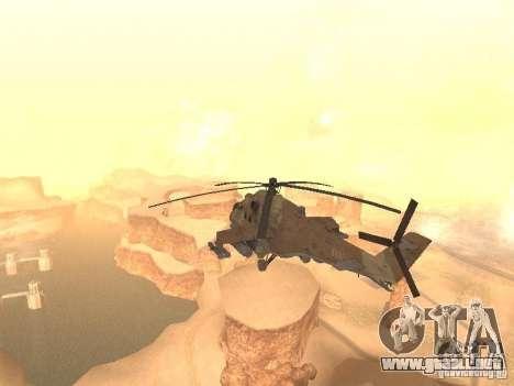 Mi-24P Desert Camo para GTA San Andreas vista posterior izquierda
