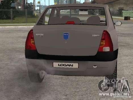 Dacia Logan 1.6 para GTA San Andreas vista hacia atrás
