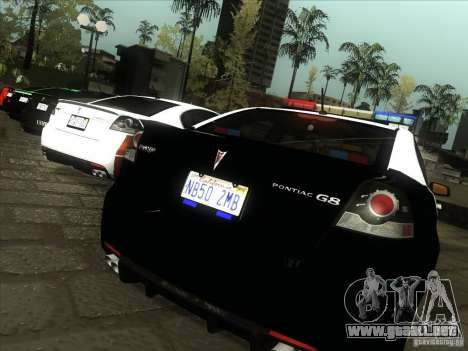 Pontiac G8 Police para la visión correcta GTA San Andreas