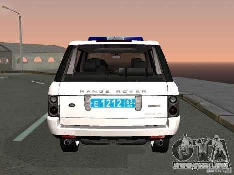 Range Rover Supercharged 2008 policía Departamen para GTA San Andreas vista posterior izquierda