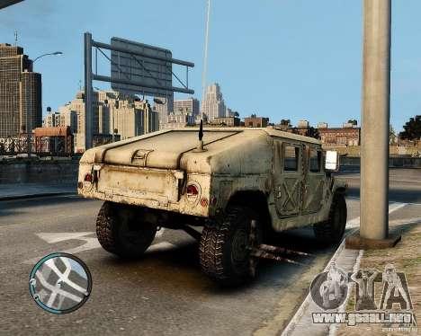 Hummer H1 para GTA 4 Vista posterior izquierda