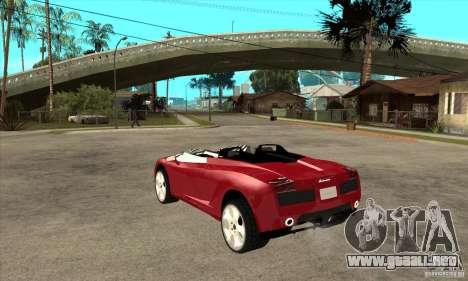 Lamborghini Concept S para GTA San Andreas vista posterior izquierda