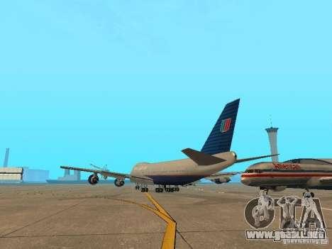 Boeing 747-100 United Airlines para GTA San Andreas vista posterior izquierda