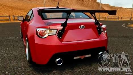 Subaru BRZ 2013 para GTA 4 Vista posterior izquierda