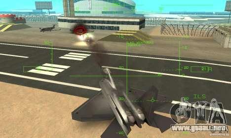 YF-22 Black para vista inferior GTA San Andreas