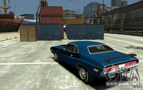 Dodge Challenger R/T Hemi 1970 para GTA 4 Vista posterior izquierda