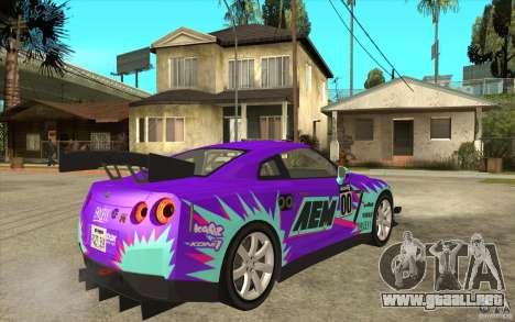 Nissan GT R Shift 2 Edition para GTA San Andreas vista hacia atrás