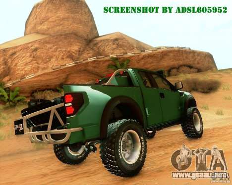 Ford F150 2011 SVT RapTor para visión interna GTA San Andreas