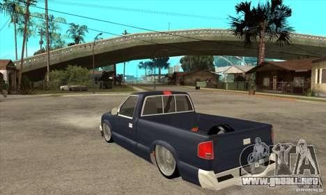Chevrolet S-10 1996 Draggin para GTA San Andreas vista posterior izquierda