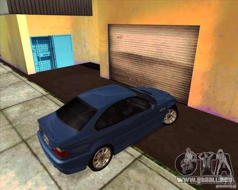 BMW M3 E46 stock para GTA San Andreas vista hacia atrás