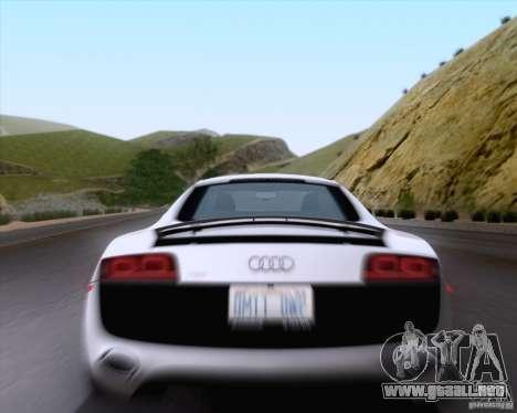 Audi R8 v10 2010 para GTA San Andreas vista hacia atrás