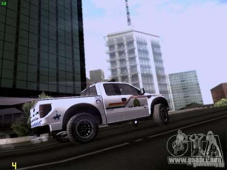 Ford Raptor Royal Canadian Mountain Police para GTA San Andreas vista hacia atrás