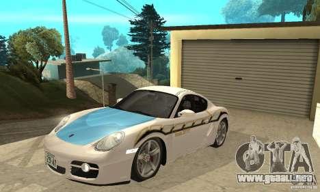 Porsche Cayman S para vista inferior GTA San Andreas