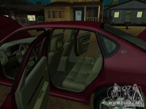 Chevrolet Impala 2003 para GTA San Andreas vista hacia atrás