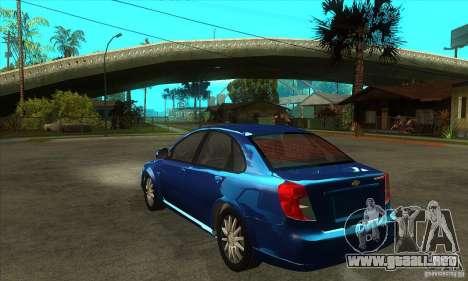 Chevrolet Optra 2011 para GTA San Andreas vista posterior izquierda